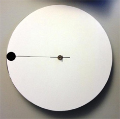 Figure 8a: Test disk of 385mm diameter, rotating with 12-14 turns per second. The black dot at its circumference speeds up to 45-50 km/h