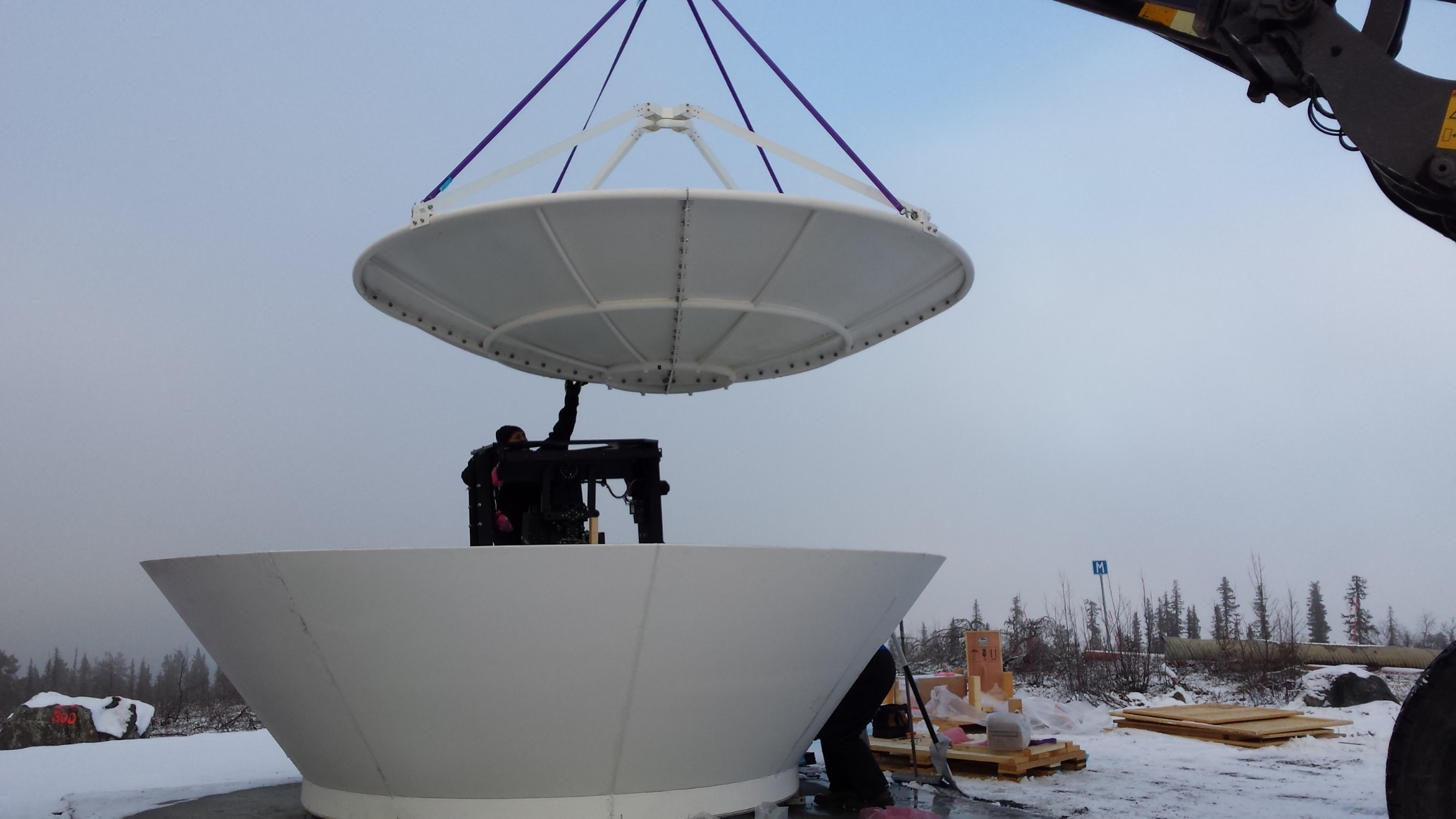 Installation of a smallsat-tracking ground station in a polar environment (courtesy of Orbit Communications Systems, Ltd.)