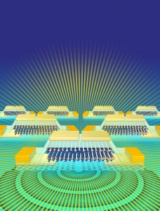 image: Researchers have designed a light-emitter and detector that can be integrated into silicon CMOS chips. This illustration shows a molybdenum ditelluride light source for silicon photonics. Credits: Sampson Wilcox