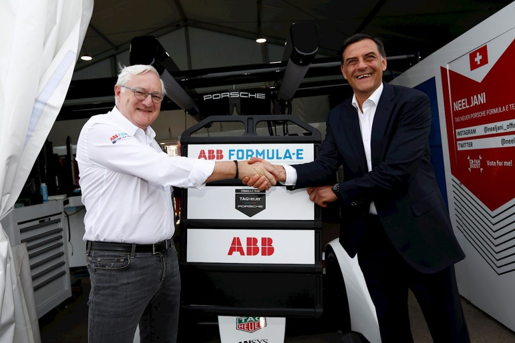 From left to right: Peter Voser (Chairman and CEO ABB), Michael Steiner (Member of the Executive Board, Research and Development of Porsche AG)